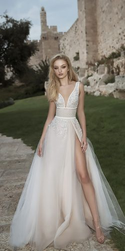 dany mizrachi wedding dresses a line v neckline with straps and high slit
