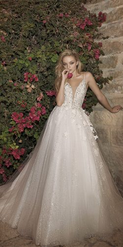 dany mizrachi wedding dresses a line v neckline with straps lace
