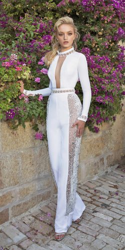 dany mizrachi wedding dresses jumpsuits high neckline long sleeves lace