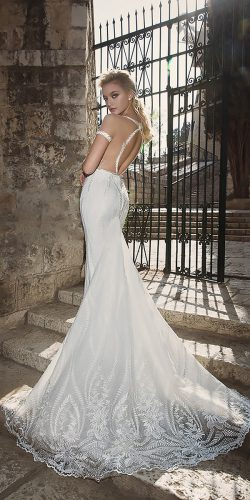dany mizrachi wedding dresses lace fit and flare open back with sleeves
