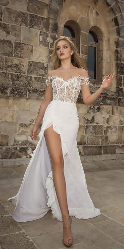 dany mizrachi wedding dresses off the shoulder lace sweetheart neck with high slit