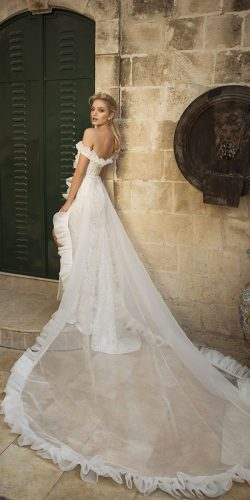 dany mizrachi wedding dresses off the shoulder with slit and train