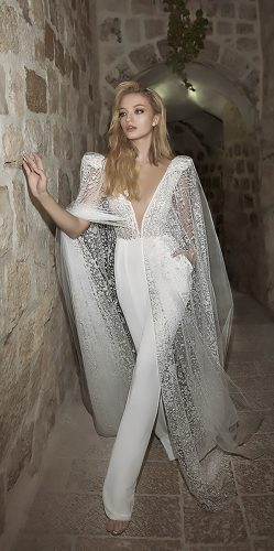 dany mizrachi wedding dresses pantsuits v neckline with princess cap