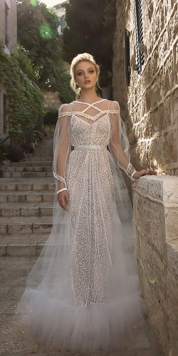 dany mizrachi wedding dresses straight modern illusion neckline with long sleeves