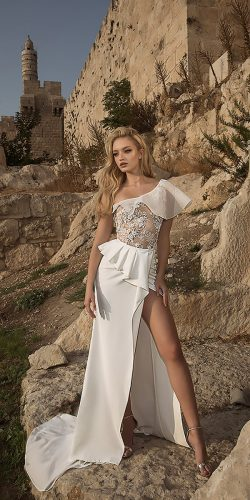 dany mizrachi wedding dresses straight one shoulder lace with slit