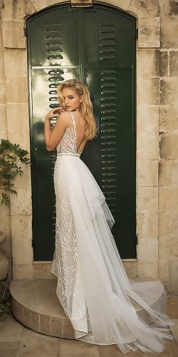 dany mizrachi wedding dresses straight open back lace spaghetti straps