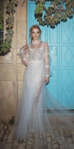 dany mizrachi wedding dresses straight with long sleeves high illusion neckline