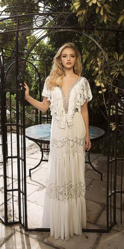 dany mizrachi wedding dresses vintage straight v neckline with sleeves