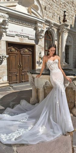 eva lendel wedding dresses 2018 mermaid sweetherat lace with train denis