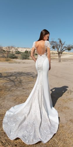eva lendel wedding 2018 sexy mermaid backless cap sleeves