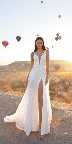 eva lendel wedding dresses 2018 sexy v with high slit