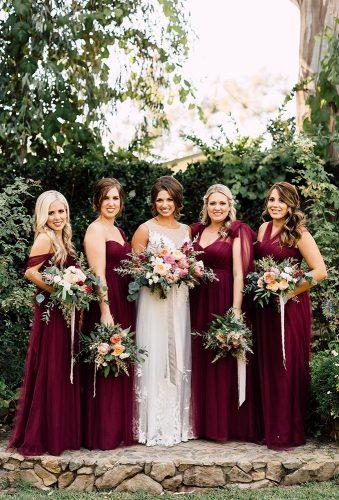 fall wedding photos bridesmaids in burgundy dress Carla Kayes Floral Design