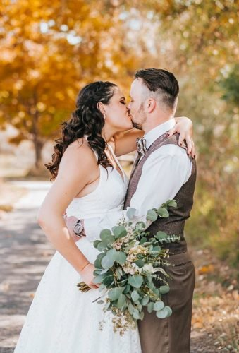 fall wedding photos wedding kiss golden pine photo