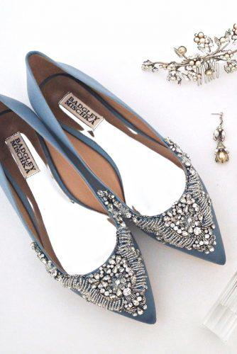 flat wedding shoes colored blue with crystals badgley mischka