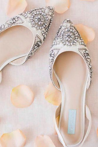 flat wedding shoes crystals white embroidered with rhinestones back straps xobetseyjohnson
