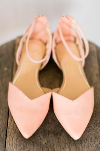flat wedding shoes pastel pink ankle strap colored elisabeth carol