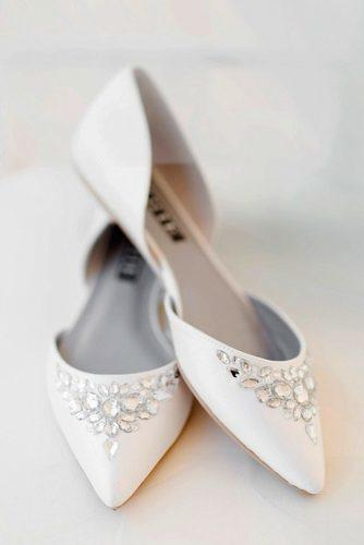 flat wedding shoes white with crystals modern trendy holly felts