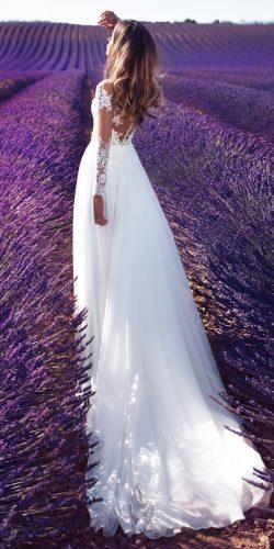 lace milla nova 2018 wedding dresses straight illusion back long sleeves with train violet