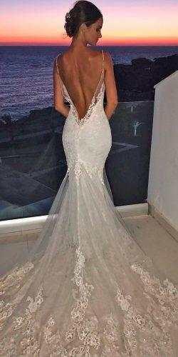 mermaid wedding dresses lace low back spaghetti straps with train enzoani