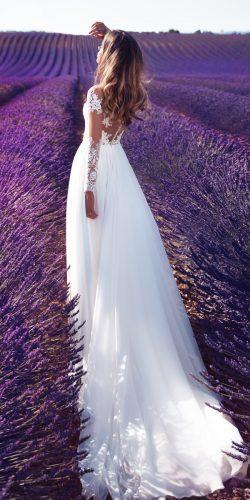 milla nova 2018 wedding dresses straight lace illusion long sleeve violet