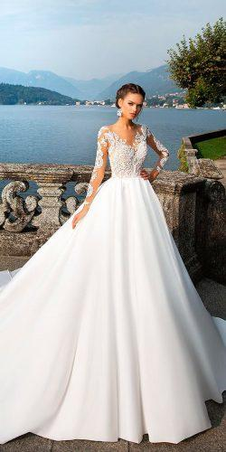 milla nova wedding dresses 2017 ball gown lace long sleeves sweetheart neck