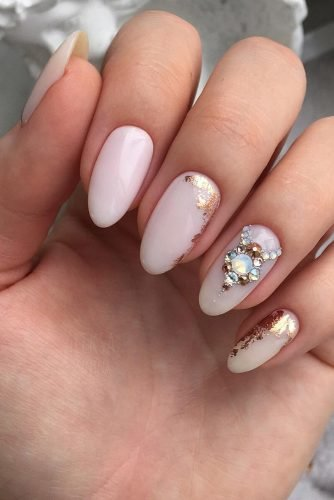nail design nude beige with gold foil and rhinestones aleksanailart