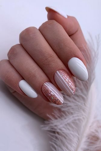 nail design nude pink glitter and white bridal design sobakar_nails