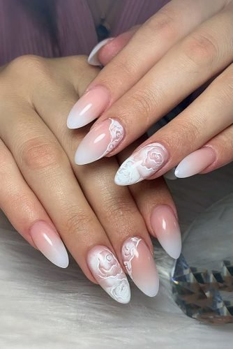 nail design pink white ombre with flowers bridal design on long nails alina_foxsa