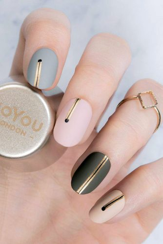 nail design trend colors with gold stripes moyou london official via instagram