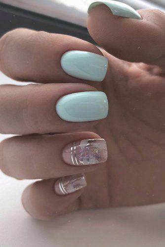 nail design wedding light blue and trendy silver foil effect nail_addict
