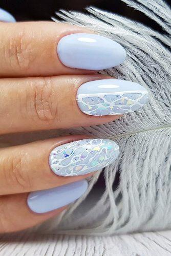 nail design wedding light blue and white abstract nedozrelova_nailartist