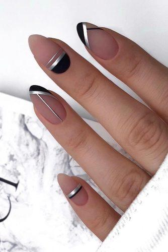 nail design wedding modern nude silver and black geometry lyuciya_nails
