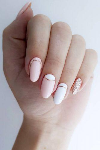 nail design wedding pink white modern minimalistic golden stripes gira.nails