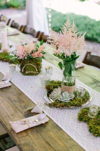 rustic backyard wedding wedding table with lace moss and succulents the enchanted florist