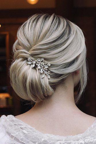 wedding hairstyles for medium hair elegant chignon on blonde hair hairandmakeupbysteph