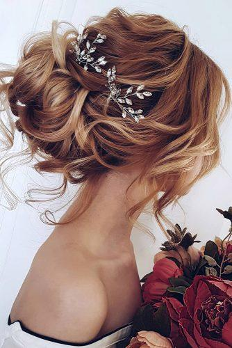 wedding hairstyles for medium hair updo with soft red curls and crystal accessories ksenya_makeup