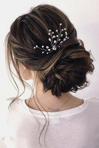 wedding hairstyles for medium hair volume low bun on dark hair nastty_lisicina