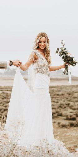 anna campbell wedding dresses straight heavily embellishment shoulders v neckline with train