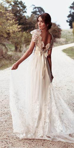 anna campbell wedding dresses straight low back detailed lace belt draped shoulder detail of sequinned lace train savannah