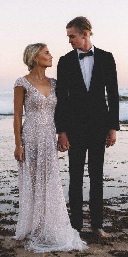 anna campbell wedding dresses straight v neckline with short sleeves