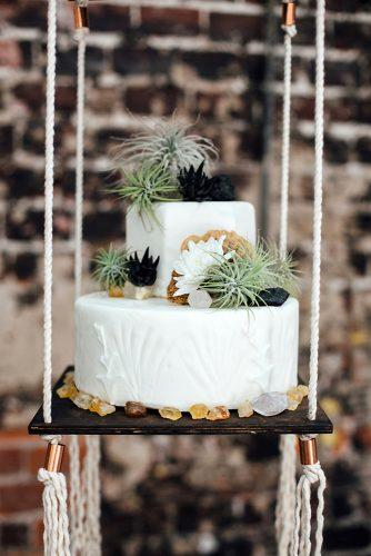 bohemian wedding ideas cake becorated with succulents and minerals monika gauthier photography