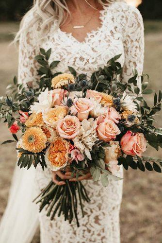 bohemian wedding ideas peach pink flowers roses and dahlias adrianwashburnn