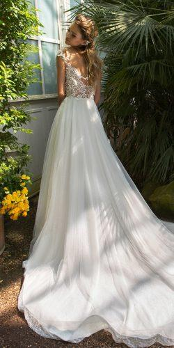 crystal design 2018 wedding dresses a line lace backless caps sleeves blush style adira