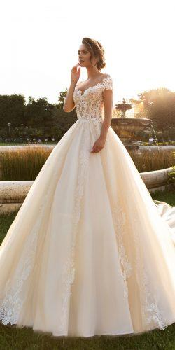 crystal design 2018 wedding dresses ball gown blush sweetheart neckline lace with short sleeves style kaitleen