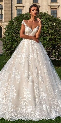 crystal design 2018 wedding dresses blush lace ball gown sweetheart neckline style steffani