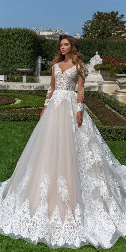 crystal design 2018 wedding dresses blush lace ball gown v neckline with sleeves style britta
