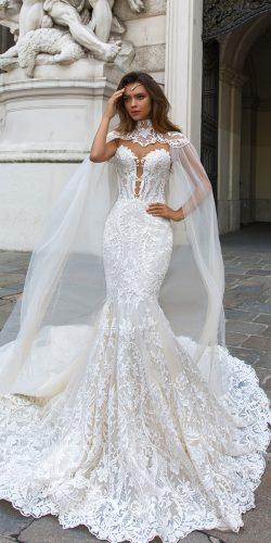 crystal design 2018 wedding dresses mermaid lace strapless sweetheart v neckline with capes style gia