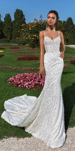 crystal design 2018 wedding dresses mermaid lace sweetheart neckline spaghetti straps style effie