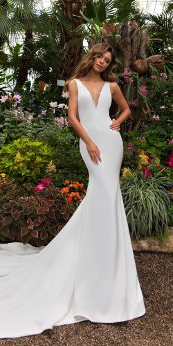 crystal design 2018 wedding dresses mermaid simple sleeveless v neckline style candel