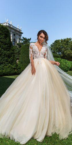 crystal design 2018 wedding dresses princess ivory ball gown lace v neckline with sleeves style belle